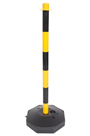 Yellow and Black Plastic Safety Post with base