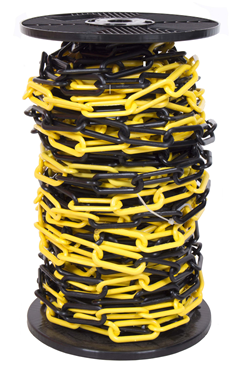 6mm YELLOW & BLACK Plastic Link Chain x 25mtr Reel