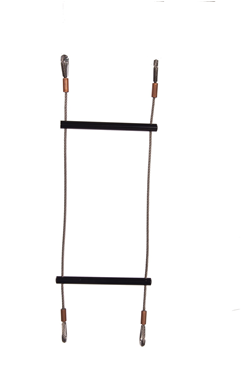 Black Stainless Steel Wire Rope Rung Ladder - Swaged Eye