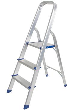 LifeGear Aluminium 3 Tread Step Ladder – Slip Resistant Treads