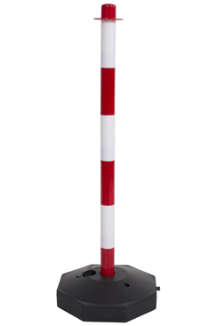 Red and White Plastic Safety Post with base