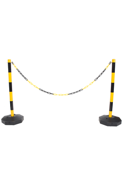 Yellow & Black Plastic Chain Post Set (x2) with 10mtrs of Chain
